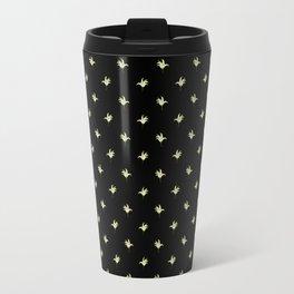 Black Vintage Lily-of-the-Valley Mini-Print Travel Mug