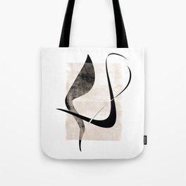 Interlocking Five   Minimalist Line Abstract Tote Bag