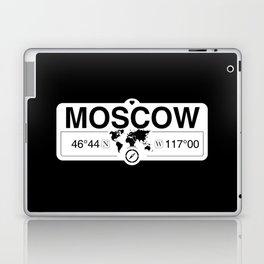 MoscowIdaho Map GPS Coordinates Artwork with Compass Laptop & iPad Skin