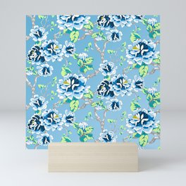 Chinoiserie Ming style Blue Floral Pattern Mini Art Print