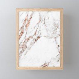 Rose gold foil marble Framed Mini Art Print