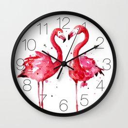 Pink Flamingos Wall Clock