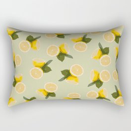 Yellow Citrus Lemon Fruit on Pale Lime Green Rectangular Pillow