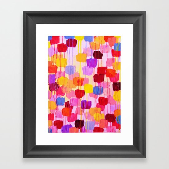 DOTTY in Pink - October Special Revisited Bold Colorful Square Polka Dots Original Abstract Painting Framed Art Print