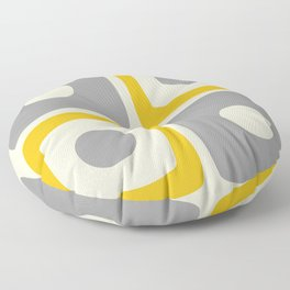Mid Century Modern Square Dot Pattern 592 Yellow and Gray Floor Pillow