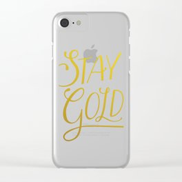 """""""Stay Gold"""" Modern Calligraphy/Typography - Minimal Gold & White Clear iPhone Case"""