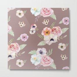Floral I - Cocoa Metal Print