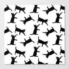 Cats-Black on White Canvas Print