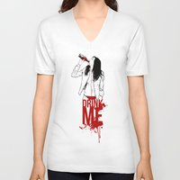 drink V-neck T-shirts featuring DRINK by CoCoCo