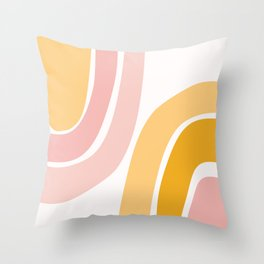 Abstract Shapes 37 in Mustard Yellow and Pale Pink Throw Pillow