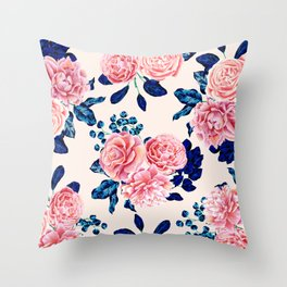 Girly Pink Navy Blue Country Painted Flowers Throw Pillow