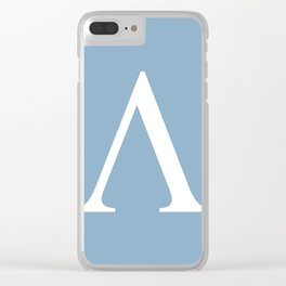Greek letter lambda sign on placid blue background Clear iPhone Case