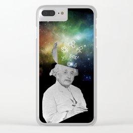 Albert Einstein With A Rainbow Galaxy Clear iPhone Case