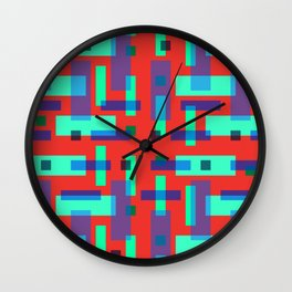 Blue and Green Block City on Red Wall Clock