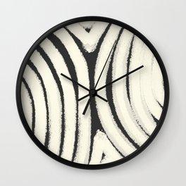 Black and white semi circle mud cloth Wall Clock