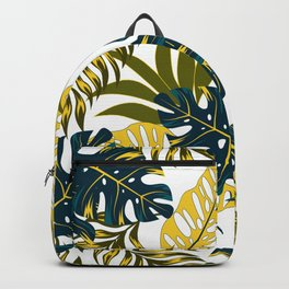 Botanical seamless tropical pattern with bright plants and leaves on a delicate background. Tropic leaves in bright colors. Hawaiian style. Colorful stylish floral. Backpack