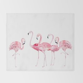 Flamingo Farm- Tropical Animal Bird World Throw Blanket