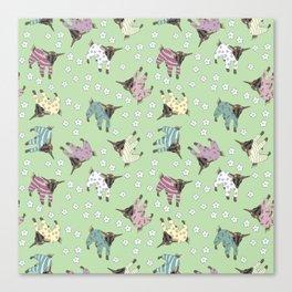 Pajama'd Baby Goats - Green Canvas Print
