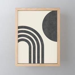 Mid century modern - Sun & Rainbow black Framed Mini Art Print