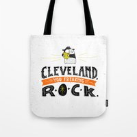 cleveland Tote Bags featuring Cleveland Rocks by Alex McClelland