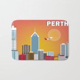 Perth, Australia - Skyline Illustration by Loose Petals Bath Mat