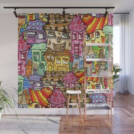 Suburbia Watercolor Collage Wall Mural