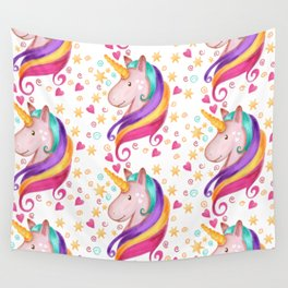 Rainbow Unicorn Colorful Watercolor Pattern Wall Tapestry