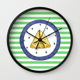 Samosa and stripes Wall Clock
