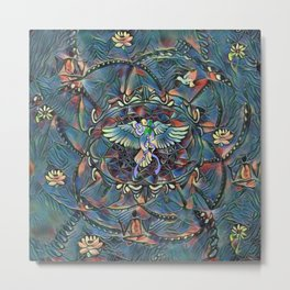 Lotus Mandala Teal Dreams Never End Metal Print