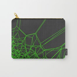Green voronoi lattice on black background Carry-All Pouch