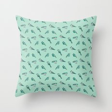 doodle birds - mint Throw Pillow