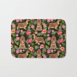 Cocker Spaniel hawaiian tropical print with dog breeds cocker spaniels Bath Mat