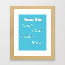 Shower Rules Print Scrub Clean Lather Rinse Framed Art Print