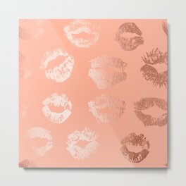 Sweet Life Lips Peach Coral Pink Shimmer Metal Print