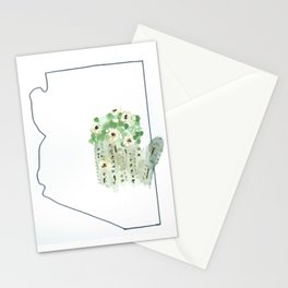 arizona // watercolor saguaro flower state flower map Stationery Cards