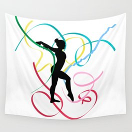 Ribbon dancer on white Wall Tapestry