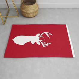 Deer head. White and red. Rug