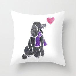 Watercolour Standard Poodle Throw Pillow