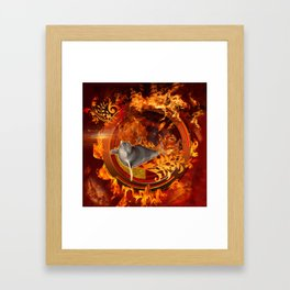 Awesome dolphin jumping by the fire Framed Art Print