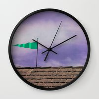 flag Wall Clocks featuring Flag by Maite Pons