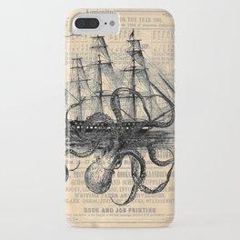 Octopus Kraken attacking Ship Antique Almanac Paper iPhone Case