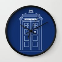 blueprint Wall Clocks featuring TARDIS Blueprint - Doctor Who by BeckiBoos