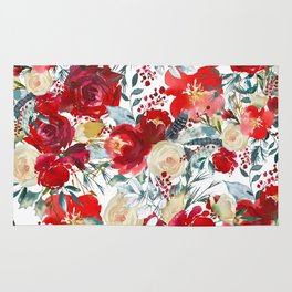 Red teal hand painted boho watercolor roses floral Rug