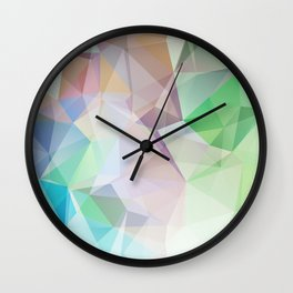 Delicate green polygonal pattern . Wall Clock