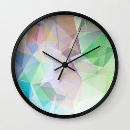 Delicate green polygonal pattern . Wall Clock