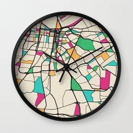 Colorful City Maps: Louisville, Kentucky Wall Clock