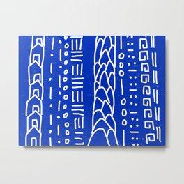Indigo Blue House Hills Lines Pattern Metal Print