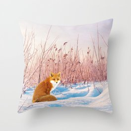 Red Fox in Snow Throw Pillow