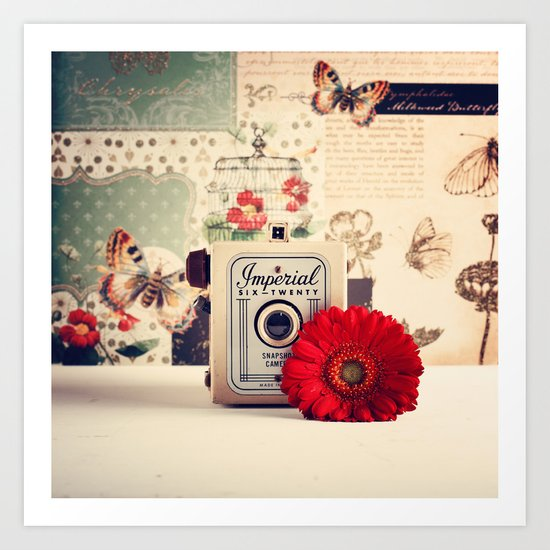 Retro Camera and Red Flower (Retro and Vintage Still Life Photography) Art Print
