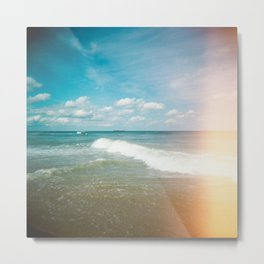 Lonely Boat in the Distance of the Outer Banks - Light Leak Film Photograph in Nags Head, NC  Metal Print